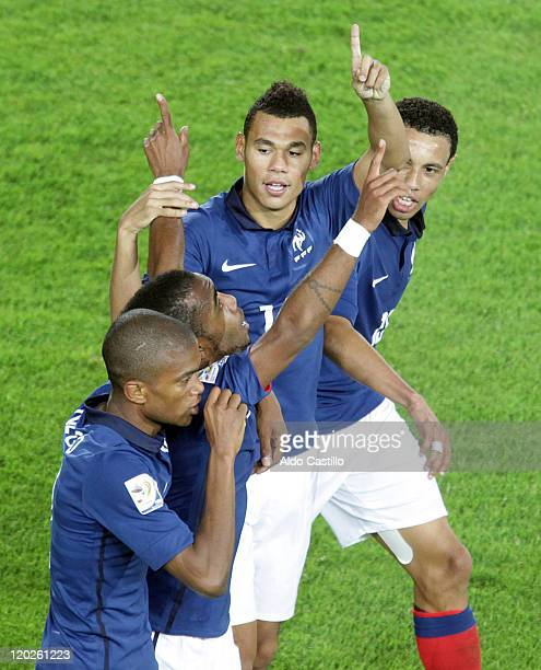 Gueida Fofana of France celebrate a scored goal with his team against Republic Korea as part a match of group A of Sub20 World Cup 2011 at Nemesio...