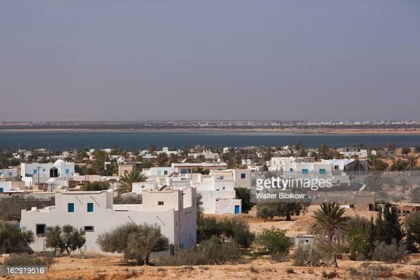 guellala, tunisia, town view - djerba stockfoto's en -beelden