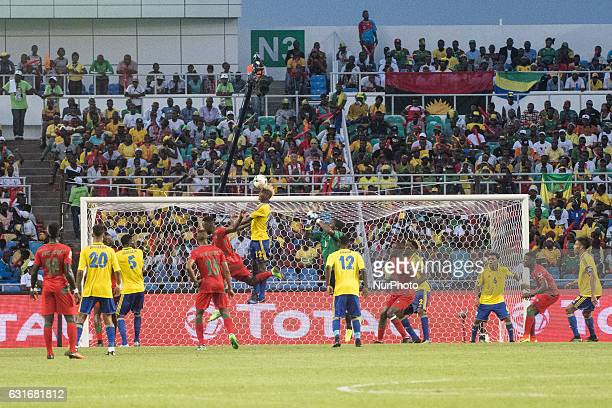 Guelor Kanga Kaku heading the ball away under a dangerous attack during the second half at African Cup of Nations 2017 between Gabon and GuineaBissau...