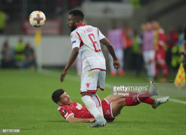 Guelor Kanga of Belgrad and Milos Jojic of Koeln battle for the ball during the UEFA Europa League group H match between 1 FC Koeln and Crvena Zvezda...