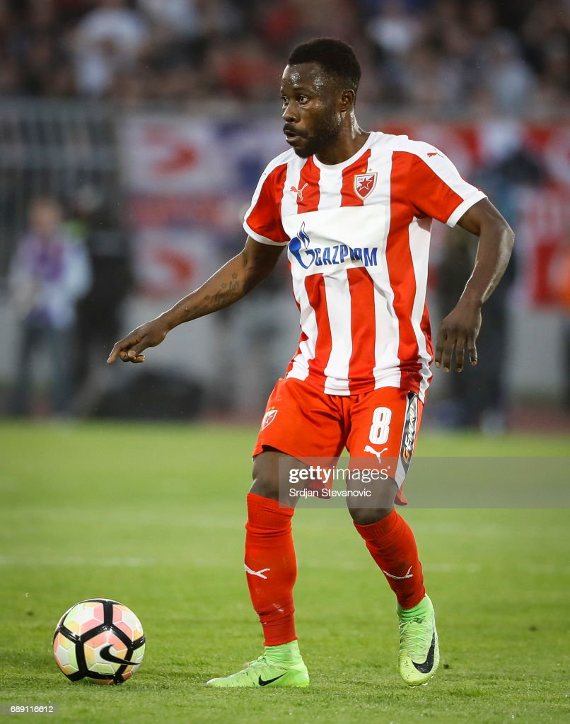 Guelor Kanga of Crvena Zvezda in action during the final match of Serbian Cup between Fc Partizan and Fc Crvena Zvezda on May 27, 2017 in Belgrade, Serbia.