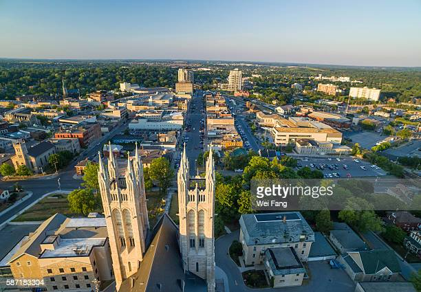 guelph aerial cityscape with basilica of our lady immaculate in the foreground - カナダ オンタリオ州 ストックフォトと画像