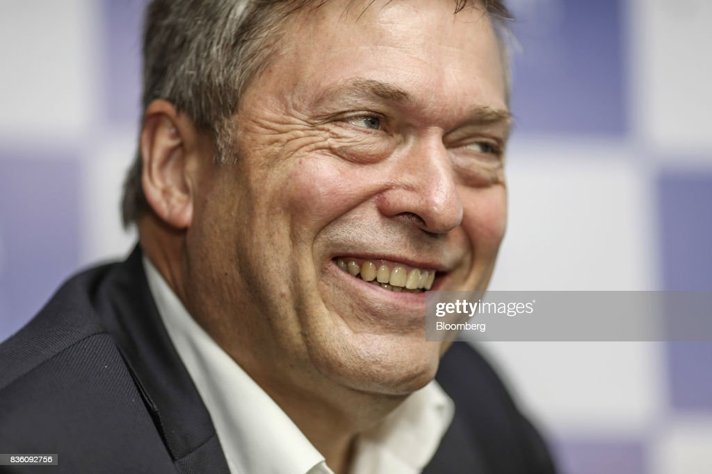 Guenter Butschek, chief executive officer of Tata Motors Ltd., reacts during a news conference in Mumbai, India, on Monday, Aug 21, 2017. Tata Motors has made an investment commitment of 25 billion rupees for future passenger vehicle programs, Butscheksaid. Photographer: Dhiraj Singh/Bloomberg via Getty Images