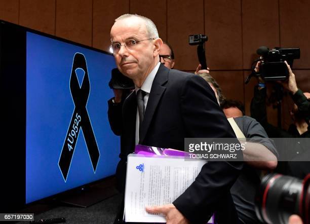 Guenter Lubitz father of Andreas Lubitz a copilot who crashed the Germanwings flight two years ago killing 150 people in the French Alps arrives for...