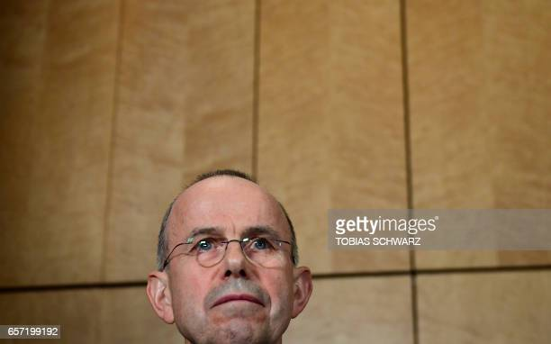 Guenter Lubitz father of Andreas Lubitz a copilot who crashed the Germanwings flight two years ago killing 150 people in the French Alps attends a...