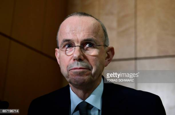 Guenter Lubitz the father of Andreas Lubitz a copilot who crashed two years ago the Germanwings flight killing 150 people in the French Alps attends...