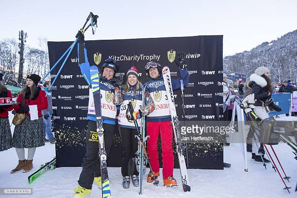 Guenter Mader Nina Proll and Arno Schuchter pose for a picture during the KitzCharityTrophy on January 21 2017 in Kitzbuehel Austria