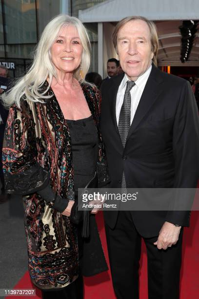 Guenter Netzer and his wife Elvira Lang Netzer attend the Hall Of Fame gala at Deutsches Fussballmuseum on April 01 2019 in Dortmund Germany
