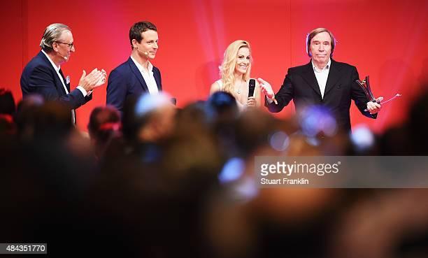 Guenter Netzer recieves his lifetime achievement award at the Sport Bild Awards 2015 on August 17 2015 in Hamburg Germany