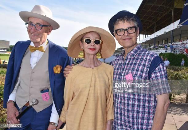 Guenther Anton Krabbenhoeft Britt Kanja and Rolf Scheider during the Fashion Race Day on June 9 2019 in DahlwitzHoppegarten Germany