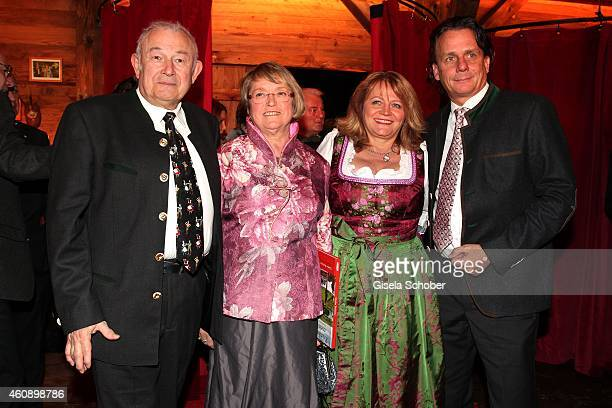 Guenther Beckstein and his wife Marga Alexandra Schoerghuber and her boyfriend Bernd Werndl during the 75th birthday party of Werner Brombach on...