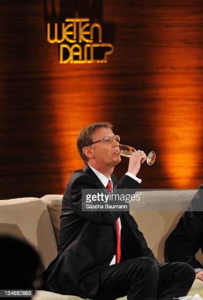 Guenther Jauch attends the 199th 'Wetten dass' show at the Rothaus Hall on December 3 2011 in Friedrichshafen Germany After 24 years host Thomas...