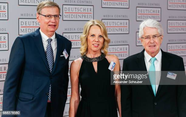 Guenther Jauch, Britta Gessler and Frank Elstner are seen during the German Media Award 2016 at Kongresshaus on May 25, 2017 in Baden-Baden, Germany....