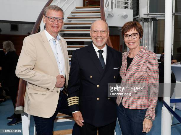Guenther Jauch, Olaf Hartmann and Dorothea Sihler-Jauch during the MS Europa meets Sansibar cruise on July 12, 2019 in Sylt, Germany.