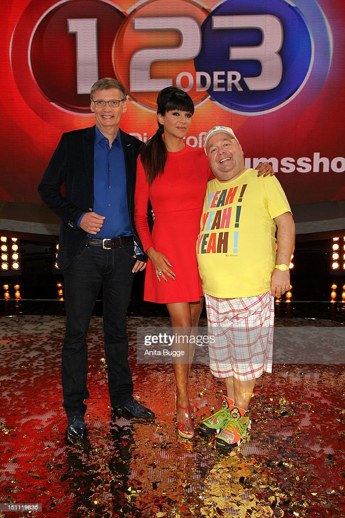Guenther Jauch, Verona Pooth and Dirk Bach attend a photocall for '1, 2 oder 3 - Die Grosse Jubilaeumsshow' at Studios Berlin Adlershof on September 1, 2012 in Berlin, Germany.