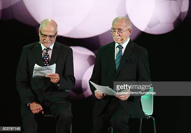 Guenther Koch and Werner Hansch perform on stage during the '50 Years of Bundesliga Gala' at Estrel Hotel on August 6 2013 in Berlin Germany