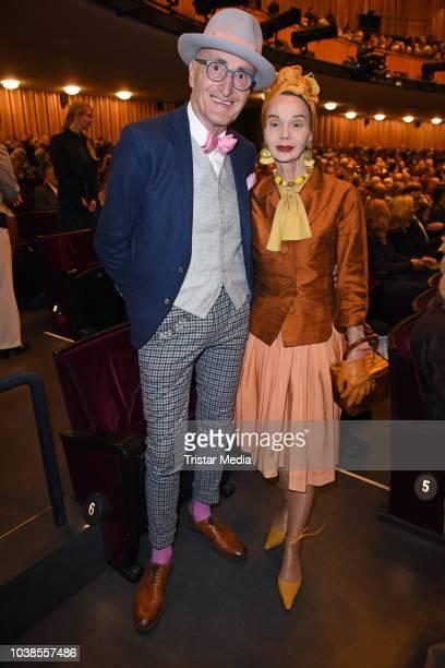 Guenther Krabbenhoeft and Britt Kanja attend the 'Willkommen bei den Hartmanns' theater premiere on September 23 2018 in Berlin Germany