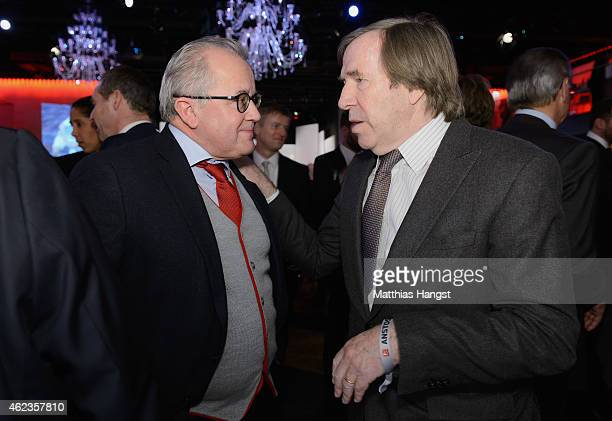 Guenther Netzer speaks to Fritz Keller President of SC Freiburg during the DFL New Year's Reception 'Anstoss 2015' at Thurn und Taxis Palais on...