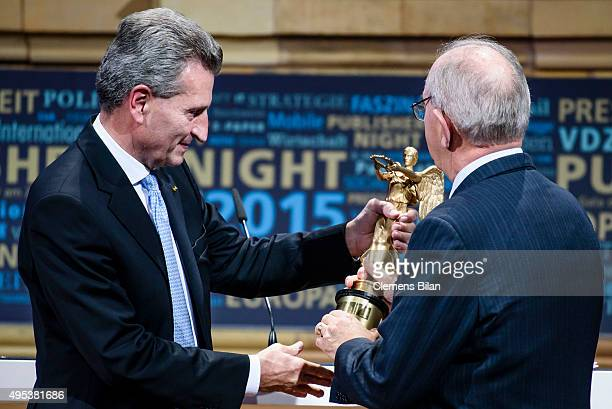 Guenther Oettinger and Rui Machete attend the VDZ Publishers Night on November 2 2015 in Berlin Germany