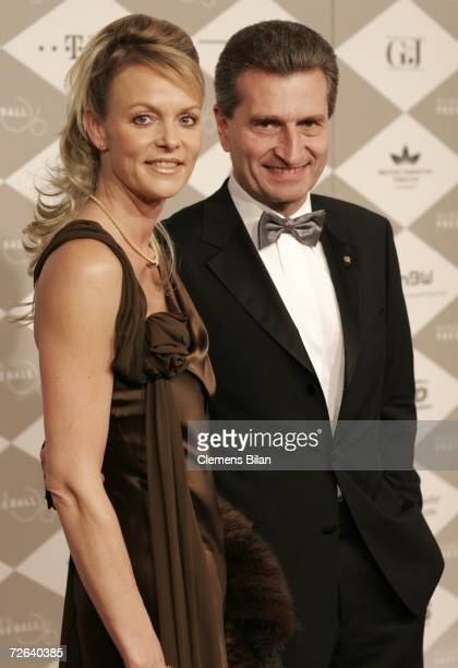 Guenther Oettinger and wife Inken Oettinger attend the German Bundespresseball on November 24 2006 in Berlin Germany