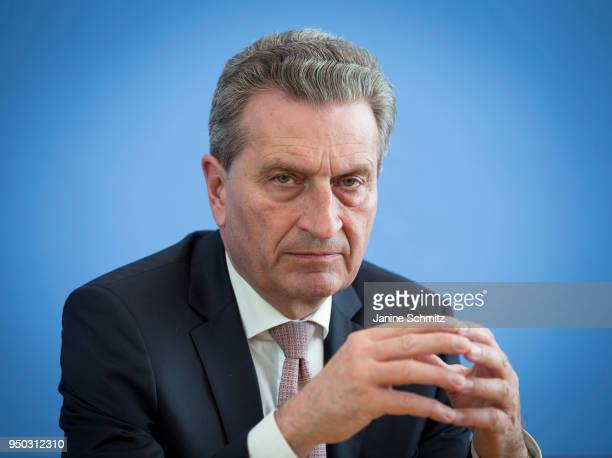 Guenther Oettinger Commissioner for Budget and Human Resources for the European Union during a press conference on April 19 2018 in Berlin Germany