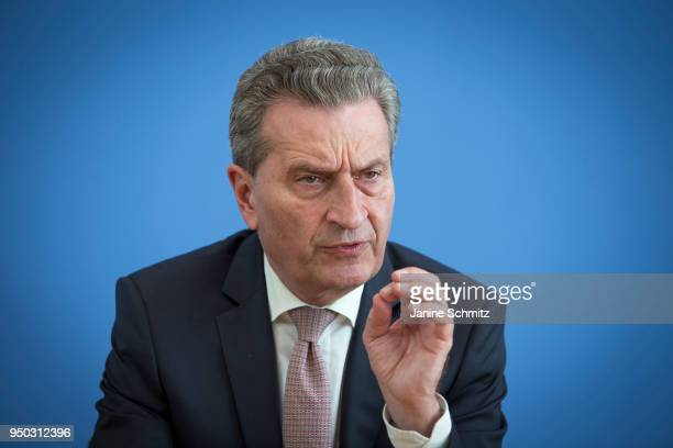 Guenther Oettinger Commissioner for Budget and Human Resources for the European Union speaks during a press conference on April 19 2018 in Berlin...
