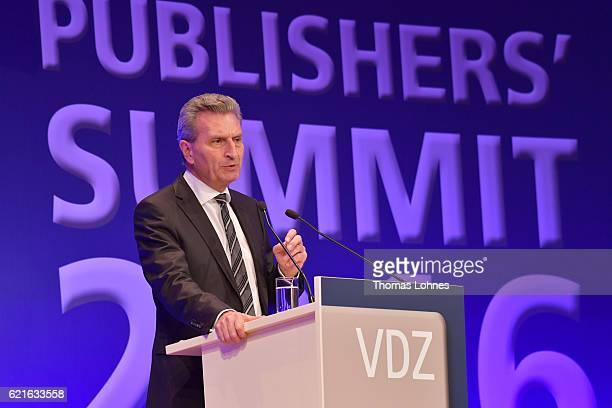 Guenther Oettinger European Commissioner for Digital Economy and Society attends day 1 of the VDZ Publishers' Summit at BCC Berlin on November 7 2016...