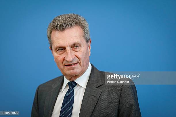 Guenther Oettinger European Commissioner for Digital Economy and Society during a press conference about copyright and new roaming regulations in EU...