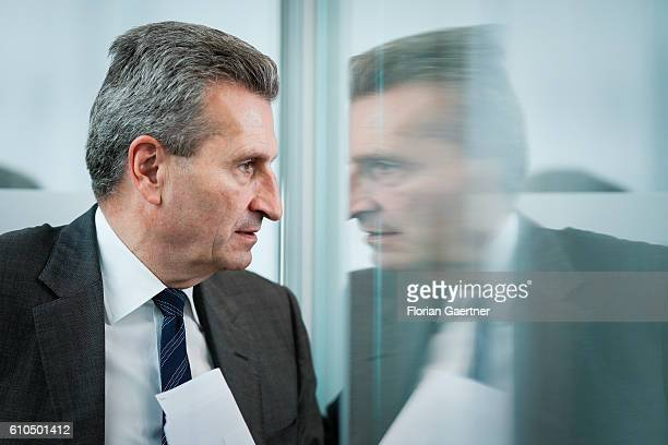 Guenther Oettinger European Commissioner for Digital Economy and Society after a press conference about copyright and new roaming regulations in EU...