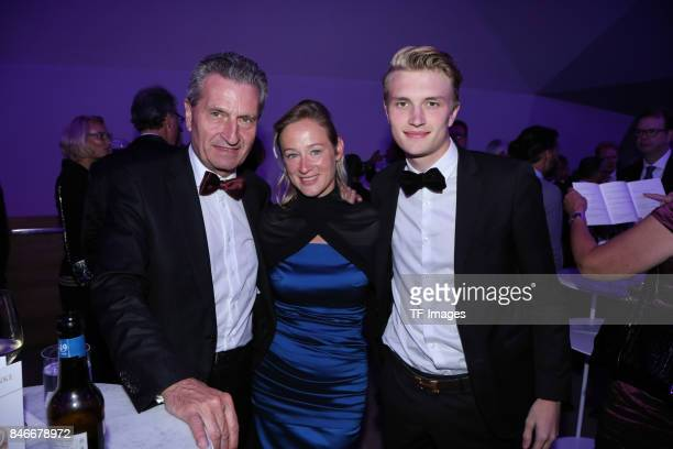 Guenther Oettinger Friederike Beyer and Alexander Oettinger attend the Deutscher Radiopreis at Elbphilharmonie on September 7 2017 in Hamburg Germany...