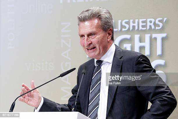 Guenther Oettinger gives a speech during the VDZ Publishers' Night 2016 at Deutsche Telekom's representative office on November 7 2016 in Berlin...