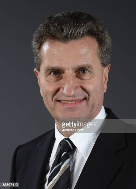 Guenther Oettinger of the Christian Democratic Union governor of German state of BadenWurttemberg looks on during a portrait session on December 1...
