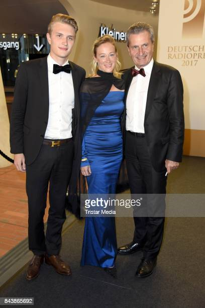 Guenther Oettinger with his son Alexander Oettinger and girlfriend Friederike Beyer attend the Deutscher Radiopreis at Elbphilharmonie on September 7...