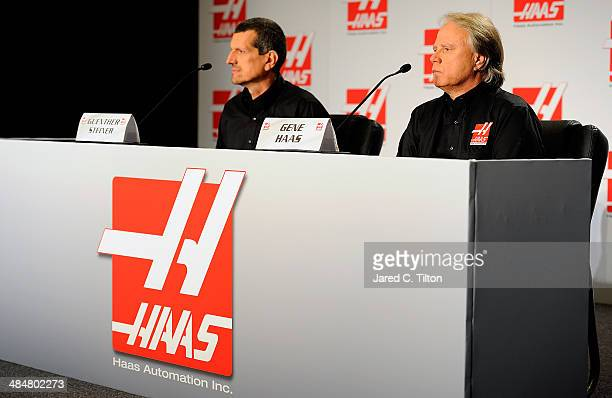 Guenther Steiner , team principal of Haas Formula and Gene Haas, founder, Haas Automation and chairman, Haas Formula, speak with the media during the...