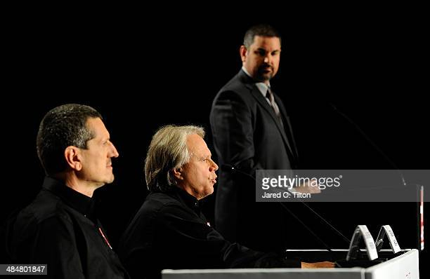 Guenther Steiner, team principal of Haas Formula, Gene Haas, founder, Haas Automation and chairman, Haas Formula, and Mike Arning, True Speed...