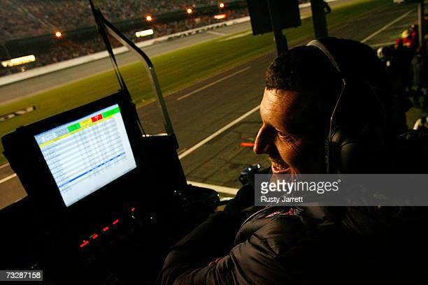 Guenther Steiner VP of Competition for the Red Bull Toyota watches cars raceGuenther Steiner during the Budweiser Shootout at Daytona International...
