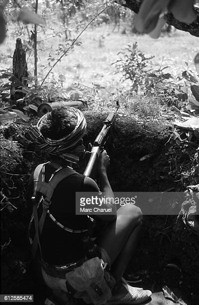 Guerilla of the Khmer People's National Liberation Front defending his position at the Nong Chan refugee camp against the Vietnamese Forces
