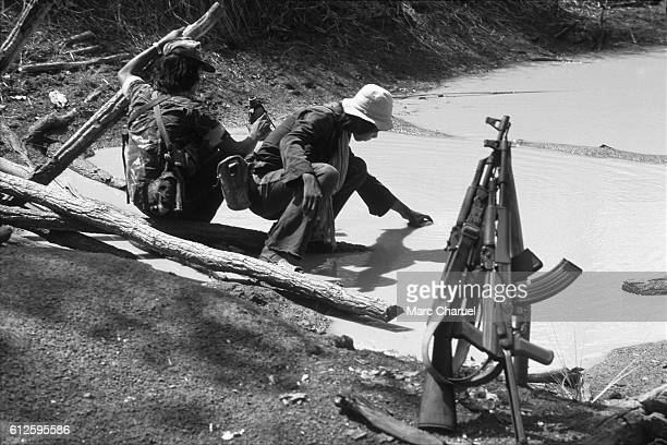 Guerillas of the Khmer People's National Liberation Front guarding the strategic site 3 of Ang Sila target of a battle for 3 months