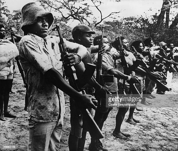 UNITA guerillas on parade during the civil war in Angola
