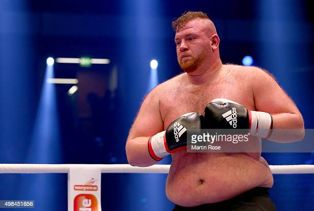 Guerkan Basak of Germany in action during their heavy weight fight at TUI Arena on November 21 2015 in Hanover Germany