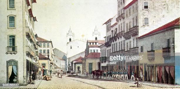 Guerra della triplice alleanza guerra paraguaiana nel 18651870 24 Rio de Janeiro Brasile in una stampa della seconda meta dell'Ottocento