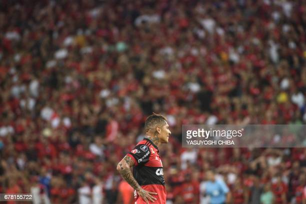 Guerrero of Brazil's Flamengo reacts after missing the goal against Chile's Universidad Catolica during their Copa Libertadores 2017 football match...