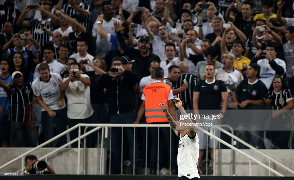 Guerrero of Corinthians celebrates scoring the first goal during the match between Corinthians and Internacional for the Brazilian Series A 2014 at Arena Corinthians on July 17, 2014 in Sao Paulo, Brazil.