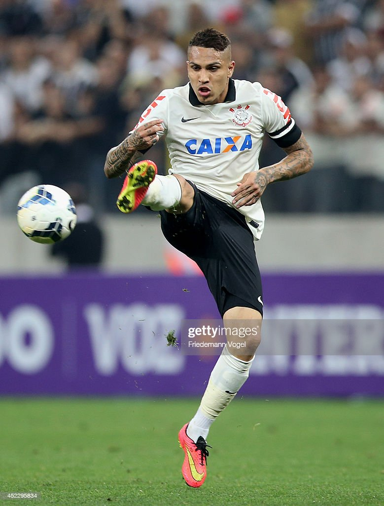 Guerrero of Corinthians runs with the ball during the match between Corinthians and Internacional for the Brazilian Series A 2014 at Arena Corinthians on July 17, 2014 in Sao Paulo, Brazil.