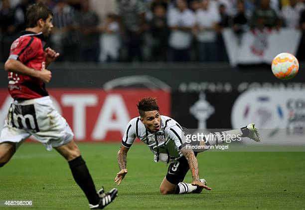 Guerrero of Corinthians scoring the second goal during a match between Corinthians and Danubio as part of Group 2 of Copa Bridgestone Libertadores at...