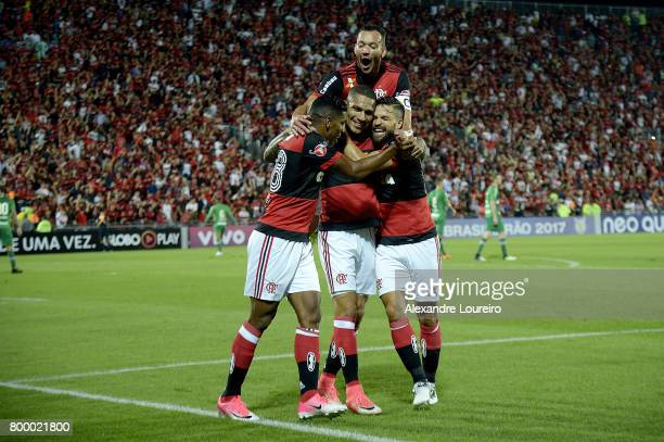 Guerrero of Flamengo celebrates a scored goal with Orlando Berrio Diego and Rever during the match between Flamengo and Chapecoense as part of...