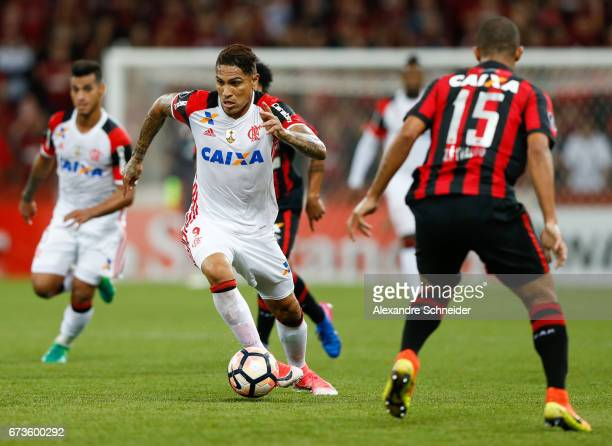 Guerrero of Flamengo in action during the match between Atletico PR of Brazil and Flamengo of Brazil for the Copa Bridgestone Libertadores 2017 at...