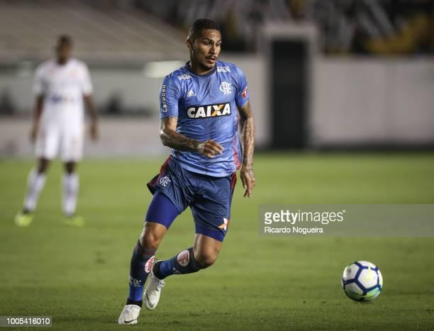 Guerrero of Flamengo on the ball during a match between Santos and Flamengo as a part of Campeonato Brasileiro 2018 at Vila Belmiro Stadium on July...