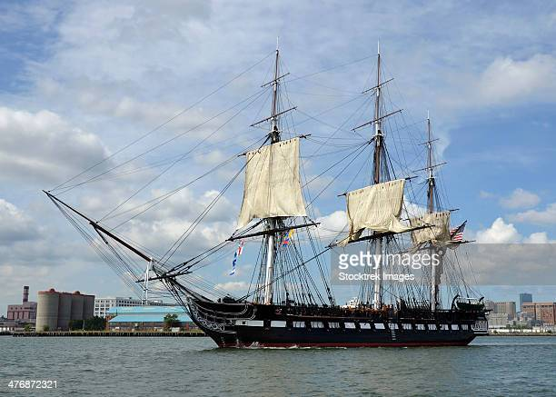 hms guerriere in the boston harbor. - old frigate stock photos and pictures