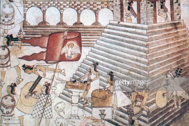 Guerriers aztèque défendant la grande pyramide de Tenochtitlan face à l'armée d'Hernan Cortes illustration du Codex Azcatitlan
